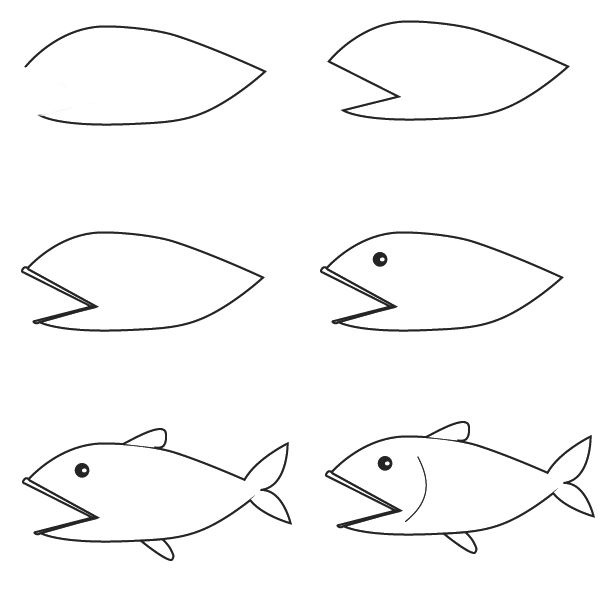 Simple Drawing Using Lines : Dibujos peces